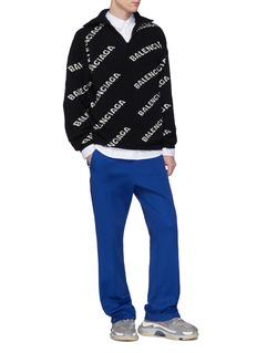 Balenciaga Logo intarsia half-zip sweater