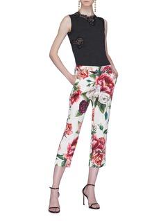 Dolce & Gabbana Chantilly lace panel knit sleeveless top