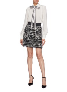 Dolce & Gabbana Tulle hem houndstooth tweed  skirt