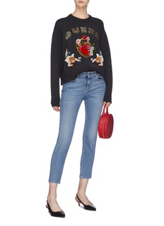 Dolce & Gabbana 'Queen' slogan embellished graphic appliqué cashmere sweater