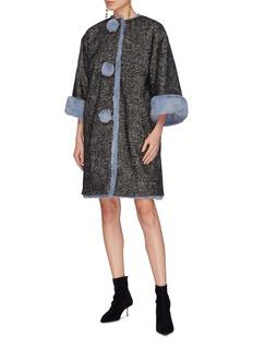 Dolce & Gabbana Embellished pompom placket faux fur trim coat