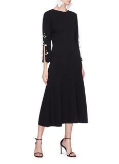 Oscar de la Renta Faux pearl sleeve crepe dress