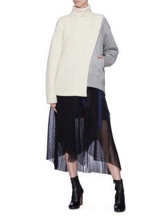Sacai Sweatshirt panel cable knit sweater
