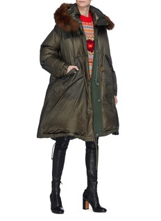 Sacai Detachable faux fur hood oversized down puffer jacket