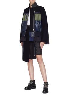 Sacai Stand collar down puffer panel wool jacket