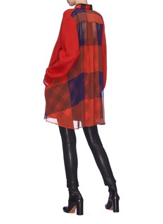 Sacai Buffalo check back wool knit dress