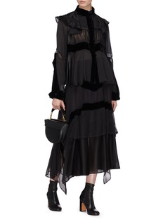 Sacai Cutout velvet panel ruffle satin chiffon blouse