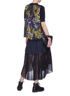 Sacai Floral print pleated back wool knit top
