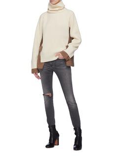 Sacai Detachable turtleneck houndstooth check plaid panel wool sweater