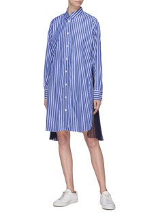 Sacai Pleated zip outseam stripe shirt dress