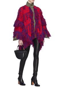 Sacai x Reyn Spooner fringe knit intarsia knit poncho