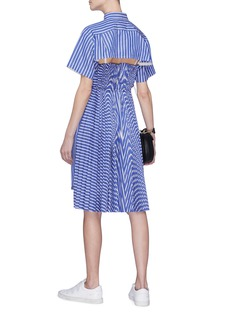 Sacai Cutout pleated back stripe shirt dress