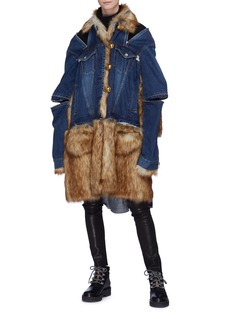 Sacai Faux fur panel denim coat