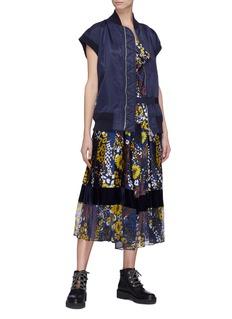 Sacai Bomber panel floral print pleated dress