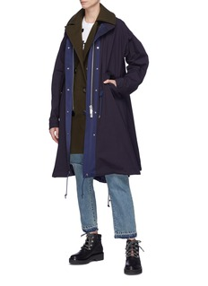 Sacai Trench panel drawstring parka