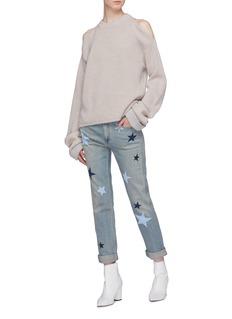 Stella McCartney Virgin wool rib knit cold shoulder sweater