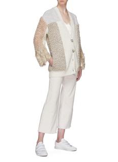 Stella McCartney Faux fur shearling patchwork cardigan