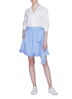 Stella McCartney Ruffle stripe wrap skirt