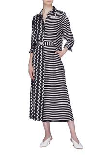Stella McCartney Zigzag stripe print silk moiré shirt