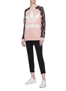 Stella McCartney x adidas Chantilly lace sleeve logo print sweatshirt