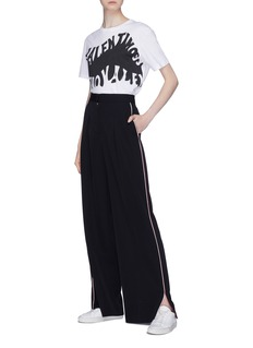 Stella McCartney Split cuff stripe outseam twill wide leg pants