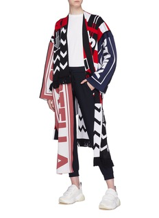 Stella McCartney Mixed logo intarsia knit wrap coat