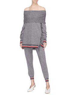 Stella McCartney Chevron stripe virgin wool-silk knit jogging pants
