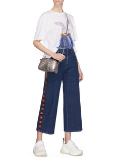 Stella McCartney Logo stripe outseam denim culottes