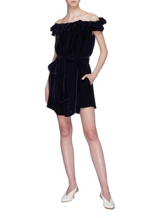 Stella McCartney Belted ruffle off-shoulder velvet dress