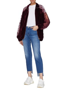 Stella McCartney 'Lily' lace trim velvet bomber jacket