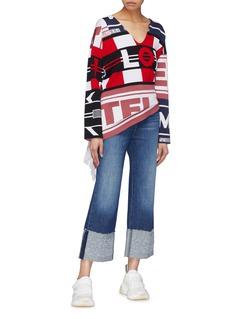 Stella McCartney Mix logo slogan intarsia drape knit top