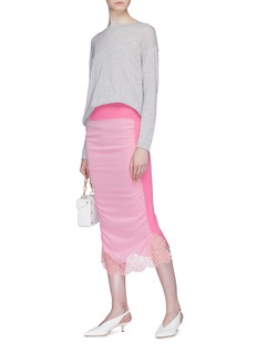 Stella McCartney Lace trim knit panel crepe midi skirt