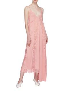 Stella McCartney Asymmetric lace trim knit slip dress