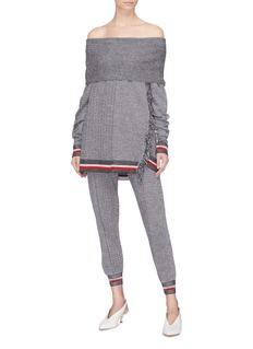 Stella McCartney Convertible chevron stripe patchwork virgin wool-silk oversized sweater