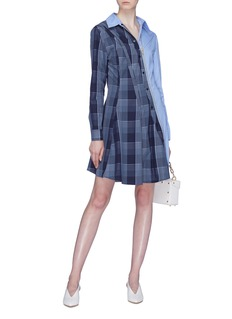 Stella McCartney Stripe panel check plaid zip dress