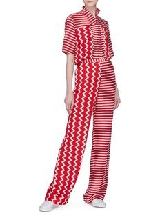 Stella McCartney 'Lana' zigzag chest pocket stripe silk moiré shirt