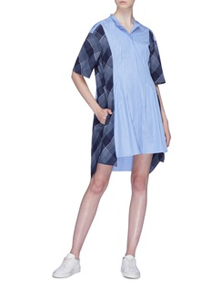 Stella McCartney Check plaid panel stripe shirt dress
