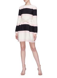 Valentino 'Macro Bayadère' bow colourblock virgin wool-silk dress