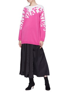 Valentino 'Valentino Waves' graphic logo intarsia cashmere sweater