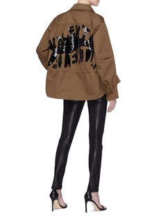 Valentino 'Valentino Waves' sequin drawstring peacoat