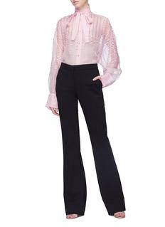 Valentino Tie neck sequin trim silk organza shirt