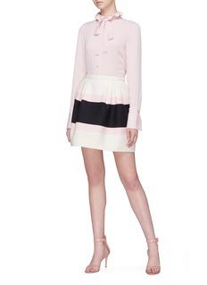Valentino 'Macro Bayadère' colourblock pleated skirt