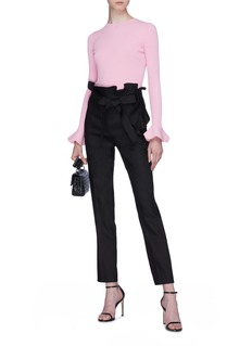 Valentino Ruffle belted paperbag pants