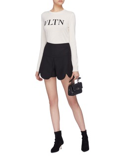 Valentino Scalloped overlay virgin wool-silk shorts