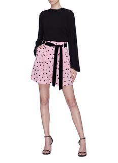 Valentino Belted heart print silk shorts