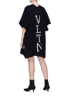 Valentino Logo intarsia virgin wool knit open cape