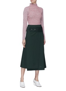 Victoria Beckham Wide martingale virgin wool midi skirt