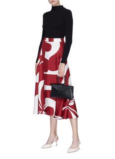 Victoria Beckham Floral print drape silk midi skirt