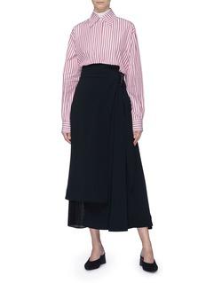 Victoria Beckham Pleated panel asymmetric wrap midi skirt