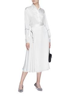 Victoria Beckham Lace print drape silk midi skirt